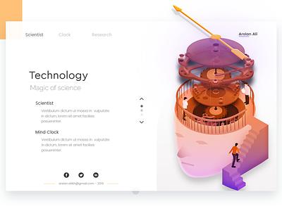 Mind Clock technology science clock mind concept landing web page design arslan illustration pakistan