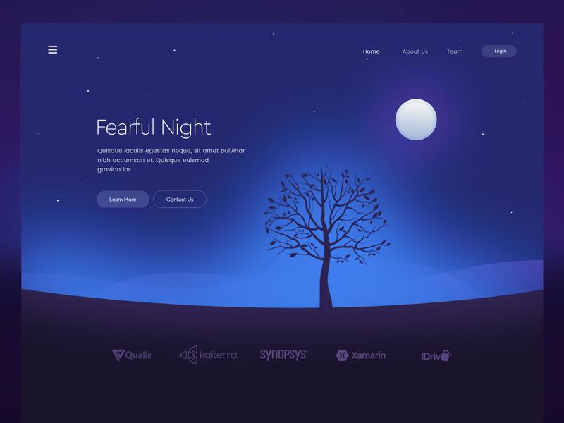 Fearful Night tree night fearful concept page web landing design illustration arslan pakistan