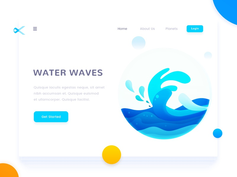 Water Waves water waves concept landing web page design illustration arslan pakistan