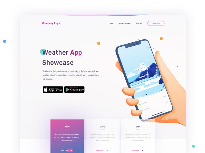 Weather App Showcase weather app weather concept landing web page design illustration arslan pakistan