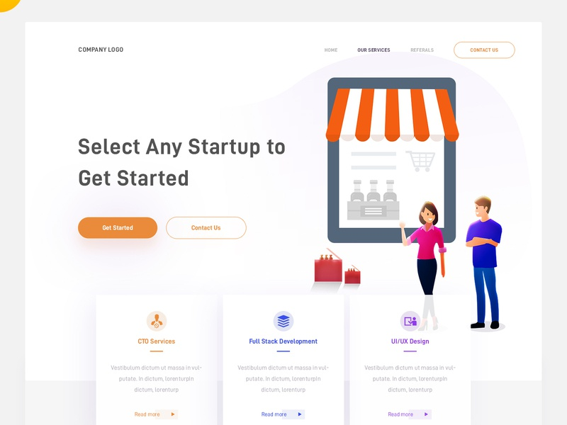 Startups cto services ux  ui full stack development landing concept web page design illustration arslan pakistan startups