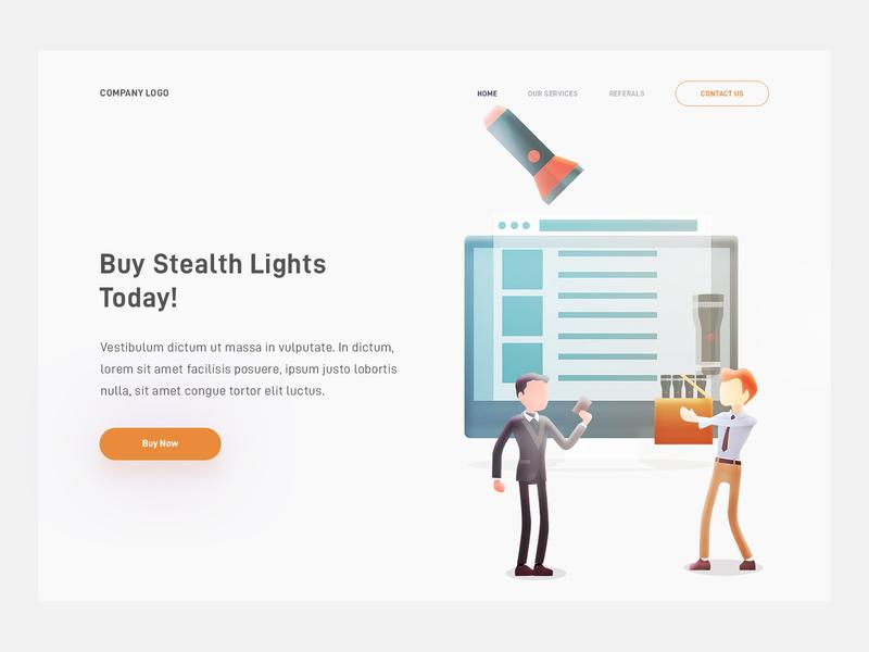 Stealth Flashlights flashlight stealth concept landing web page design illustration arslan pakistan