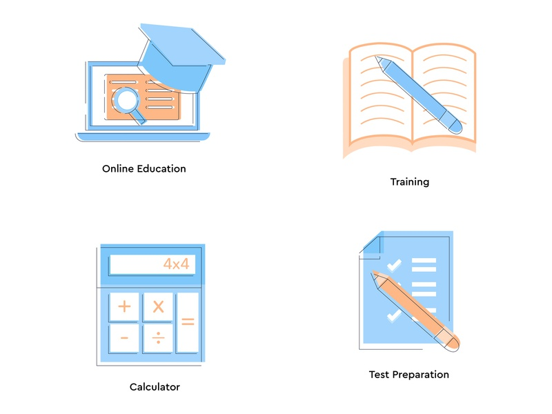 Study Icon set calculator test preparation onine training study school education set icon arslan pakistan