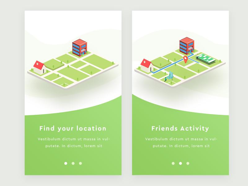 Find Location exploration mobile app mobile isometric friends activity location find concept design illustration arslan pakistan