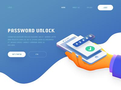 Password Unlock project working unlock password concept landing page web design illustration arslan pakistan