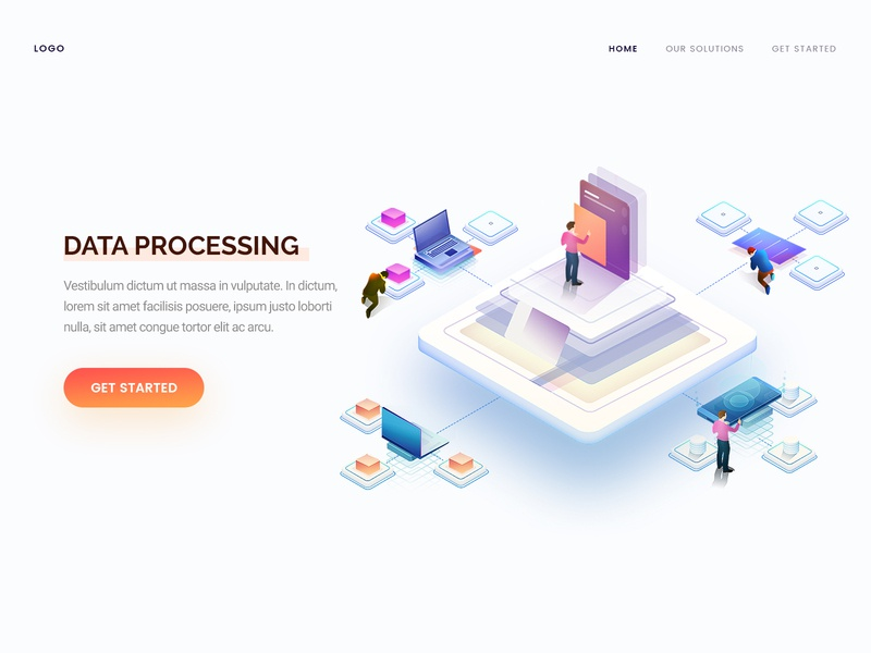 Data Processing processing data isometric concept landing web page arslan design illustration pakistan