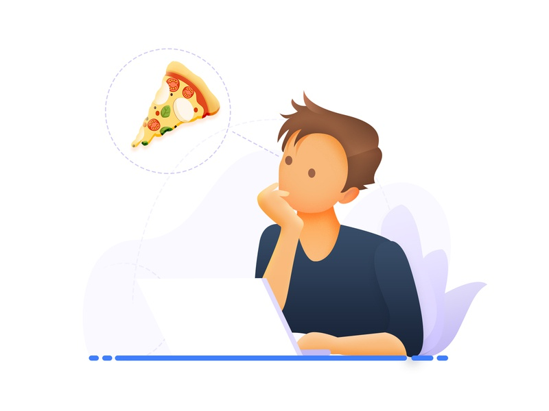 Thinking pakistan arslan concept laptop illustration pizza