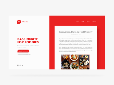 Hifoodies Landing Page Blog Section typography web design clean blog landing page card hifoodies