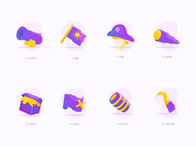 Pirates Iconstration ☠️ claudiofrs illustration icons pirates