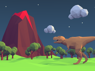Prehistoric world 3d volcano tyrannosaurus rex low polygon low poly art 3d design dinosaur trex