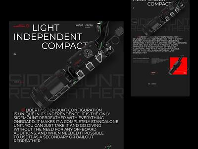 Liberty rebreather tech ux web design ui promo scuba diving scuba diving