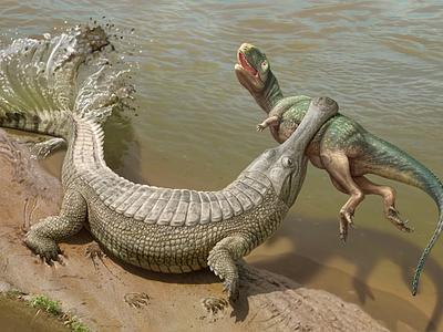 Sarcosuchus imperator digitalart dinosaur paleontology paleoart paleo art direction artwork art illustration