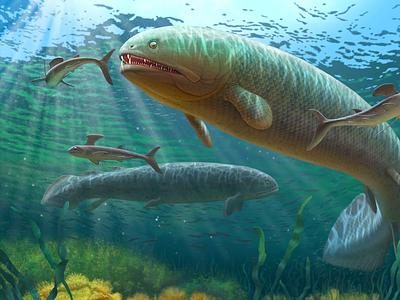 Rhizodus hibberti art cg art fish paleontology paleoart paleo artwork art direction illustration