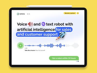 Tomoru 3d bot startup web landing promo graphic design