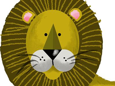Lion illustration childrens lion animal design vector photoshop illustration humour humor character cartoon