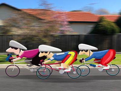 Bike Riders Illustration childrens character design photography design illustrator photoshop vector humour illustration character humor cartoon