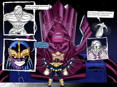 Galactus and Silver Surfer vs Thanos