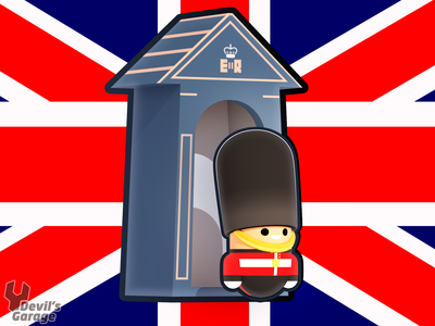 One British Royal Guard, please? vray c4d cinema 4d low poly the queen guard royal logo british 3d illustration character design
