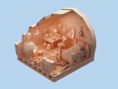 Adventurer's cozy corner vray video games furnace ukulele bag map chest zelda game cinema4d illustration lowpoly c4d 3d