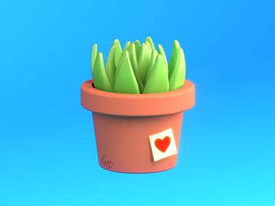 aloe, lill friend! potted plant pot succulent vray5 cinema4d illustration low poly 3d
