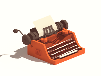 Writer's block writers block procrastinate blank paper red typewriter low poly