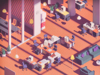 Friday Evening weekend tgif friday work low poly oldschool retro mac workplace lowpoly architecture office