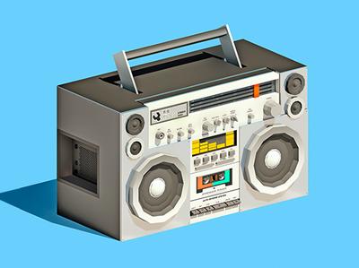 Retro Blaster 3d lowpoly low poly audio boombox blaster electronics music retro design illustration