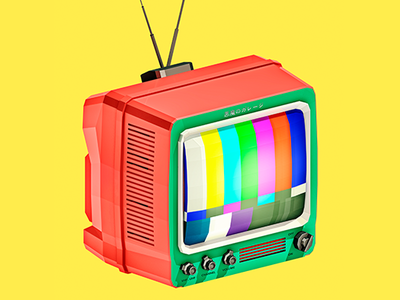 Retro Boobtube 3d lowpoly low poly cinema 4d entertainment antenna test signal television electronics retro tv design illustration