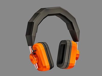 Retro Headphones audio headphones electronics vintage retro music lowpoly 3d low poly design illustration