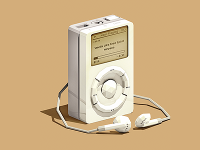 1st Gen Classic 3d lowpoly low poly audio electronics retro ipod apple music design illustration