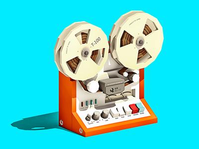 Reel 2 Reel lowpoly low poly design illustration 3d electronics retro vintage audio music reel 2 reel