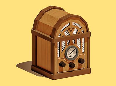 Your Grandad's Radio design illustration 3d lowpoly low poly electronics music audio transistor radio vintage