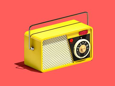Vintage Radio Toy 3d low poly lowpoly design illustration electronics audio music toy radio vintage