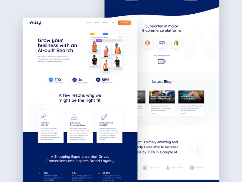 Wizzy Landing Page uidesign iconography ecommerce design branding ai web design ux