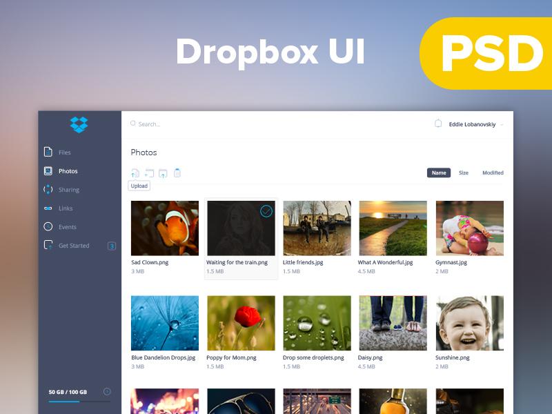 Dropbox UI uiux dashboard agileinfoways photoshop dropbox ui free psd ui kit