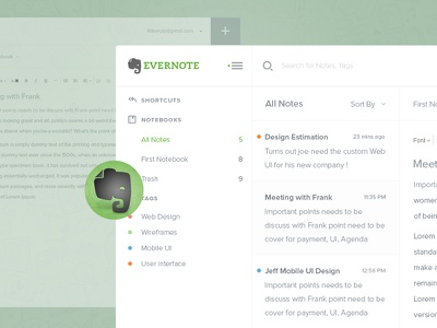 Evernote Dashboard uiux agileinfoways photoshop evernote redesign dashboard icons free psd evernote