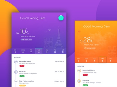 Actively iOS Application UI check list day night concept application ui trending to do list task tracker calendar temperature timeline activity tracker