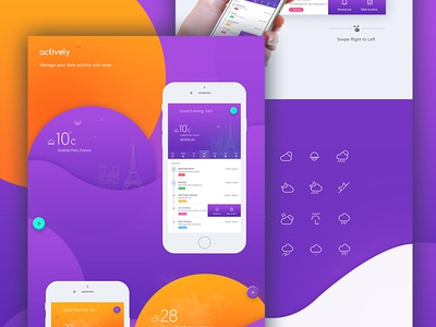 Actively iOS Application iteration check list day night concept application ui trending to do list task tracker calendar temperature timeline activity tracker