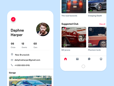 Car Community App- Profileview profile view ui club application event application minimal car app agileinfoways car community application ux ui