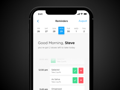 Medications Reminder-iPhone X sketch ui medical app reminder app ux ui
