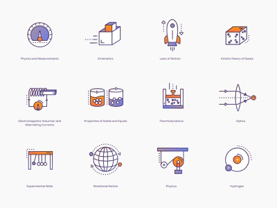 Physics Icons #2 science illustration science online education learning portal icons illustration icons physics icon illustration brewex