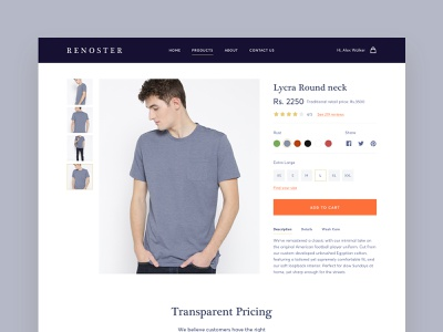 T-shirt Detail Page online tshirt typography iconography userexperiance tshirt detail landingpage userinterface minimal ecommerce