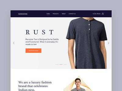 Renoster Landingpage userinterface tshirt landingpage landingpage typography iconography online tshirt