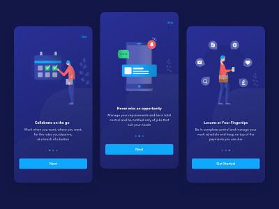 Onboarding screen for Applocum app hire doctor hire doctor iconography uxdesign 24designstudio walkthrough health app uidesign