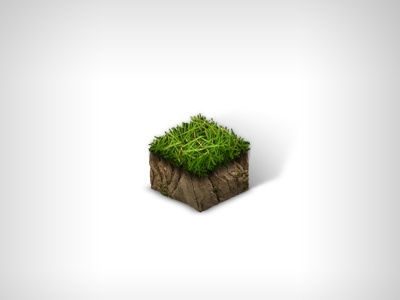 Grass Tile Dribbble isometric tile icon grass photoshop illustration earth 3d dirt minecraft