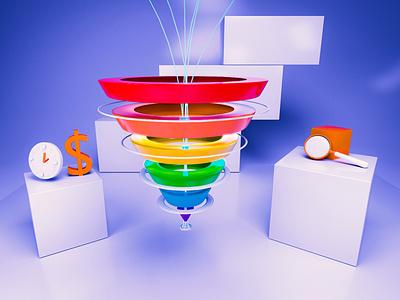 3d sales  funnel for marketing sales business 3d illustration background 3dmodel design c4d 3d art illustration 3d