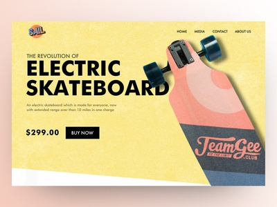 Electric skateboard landing page design