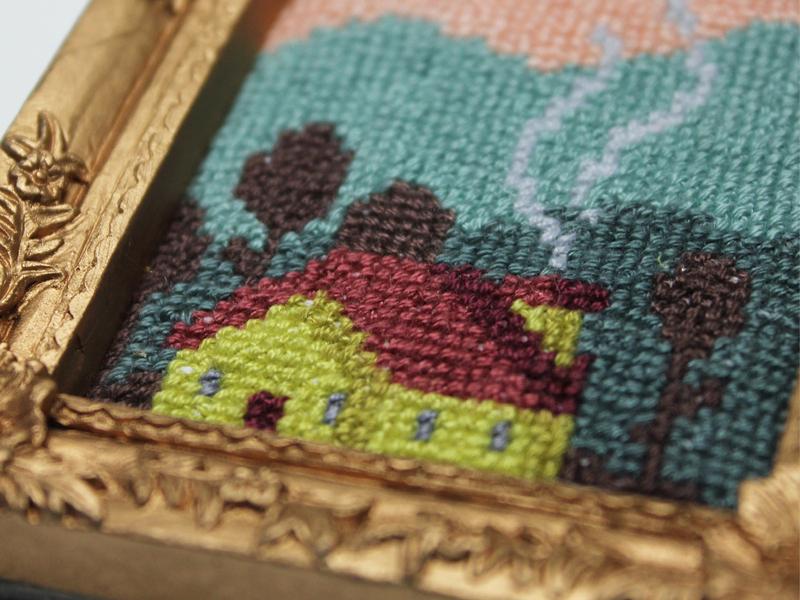 "Cross stitch ""Maisonnette"" nature fiberart handmade pixel pixelart home tableau fiber painting house cross stitch embroidery"