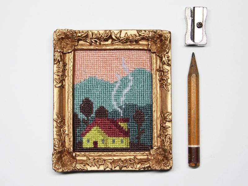 "Mini-embroidery ""maisonnette"" minimal textile canevas textile design pattern pixelart pixel house cross stitch embroidery nature decoration illustration"