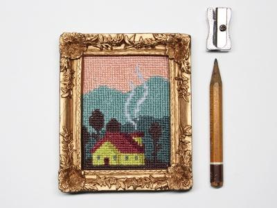 "Mini-embroidery ""maisonnette"" minimal textile canevas textile design pattern pixelart pixel house cross stitch embroidery nature decoration illustration"